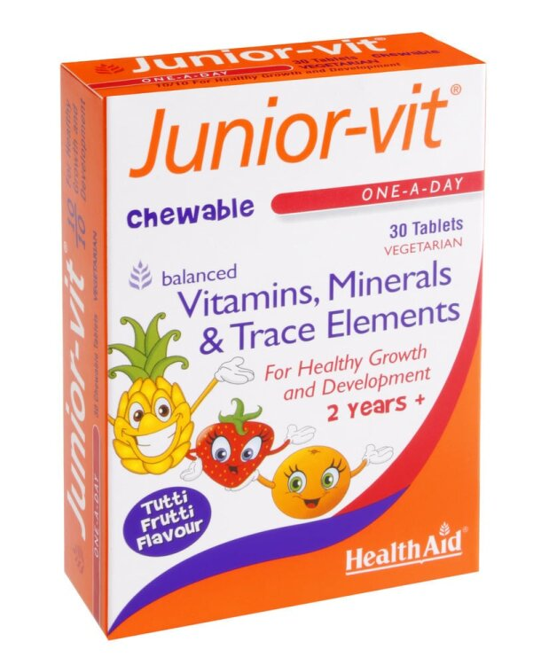 Health Aid Junior Vit, Πολυβιταμίνες με Γεύση Tutti Frutti 30 Μασώμενα Δισκία