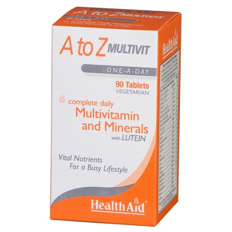 Health Aid A to Z Multivit with Lutein, Πολυβιταμίνες 90tabs
