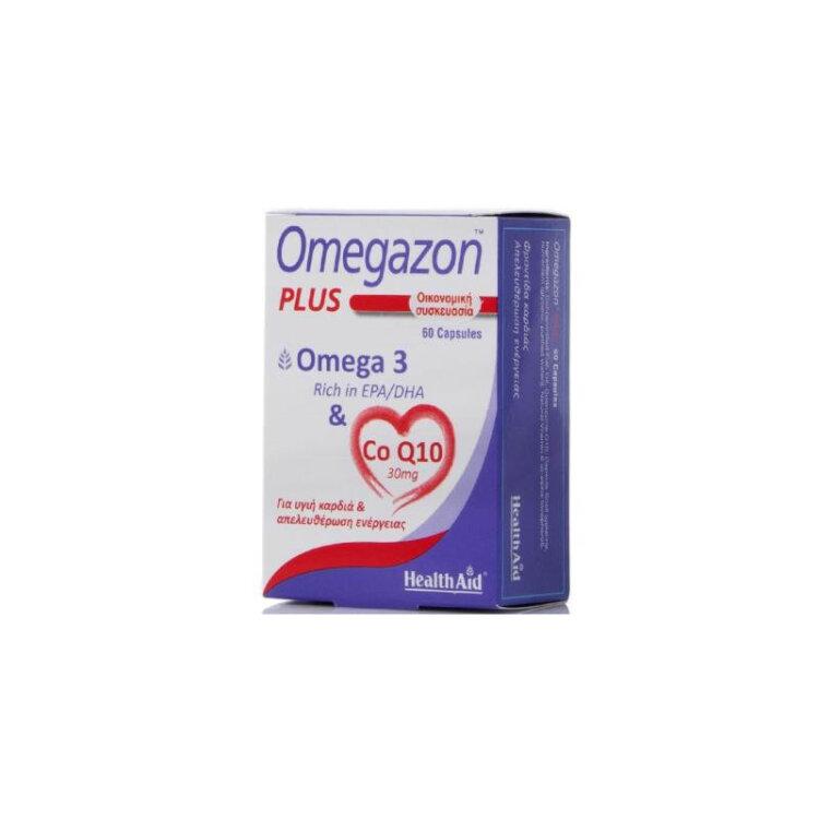 Health Aid - Omegazon Plus - Omega 3 & Co Q10, Υγιή Καρδιά & Απελευθέρωση Ενέργειας 60caps