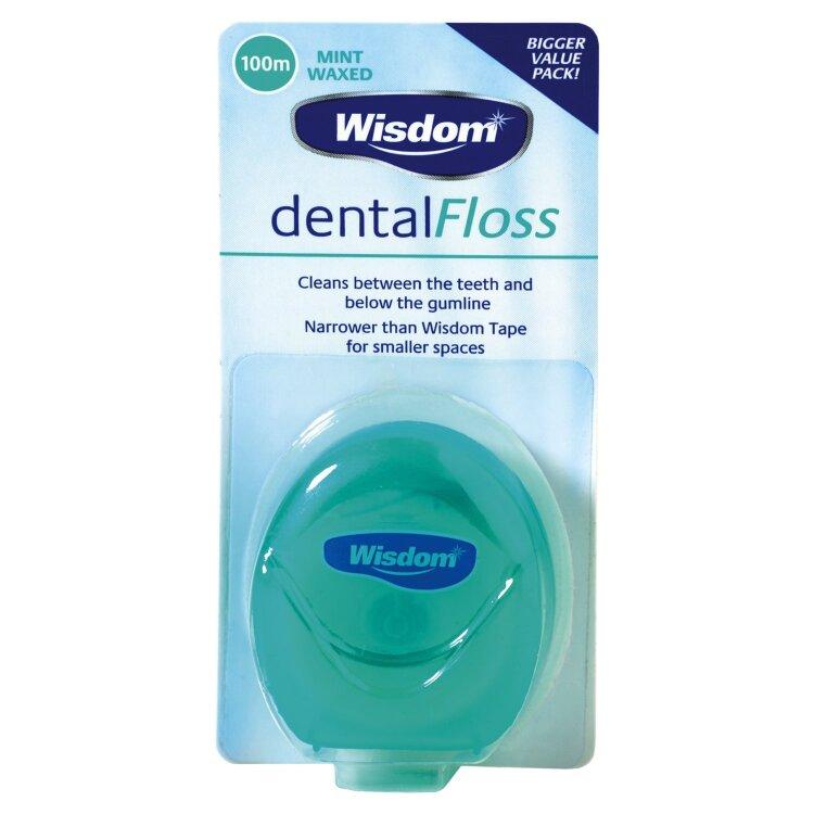 Wisdom Dental Floss Οδοντικό Νήμα Κερωμένο με γεύση Μέντα 100M