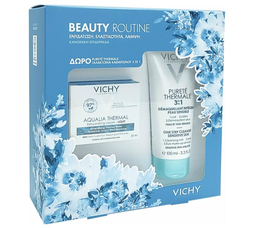 Vichy Beauty Routine με Aqualia Thermal Rehydrating Light Cream 50ml & Δώρο Purete Thermale 3 in 1 100ml