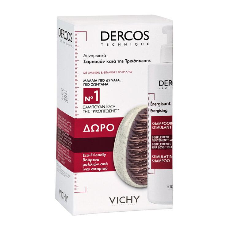 Vichy Dercos Δυναμωτικό Σαμπουάν κατά της Τριχόπτωσης 400ml & ΔΩΡΟ Βούρτσα Μαλλιών Από Ίνες Σιταριού
