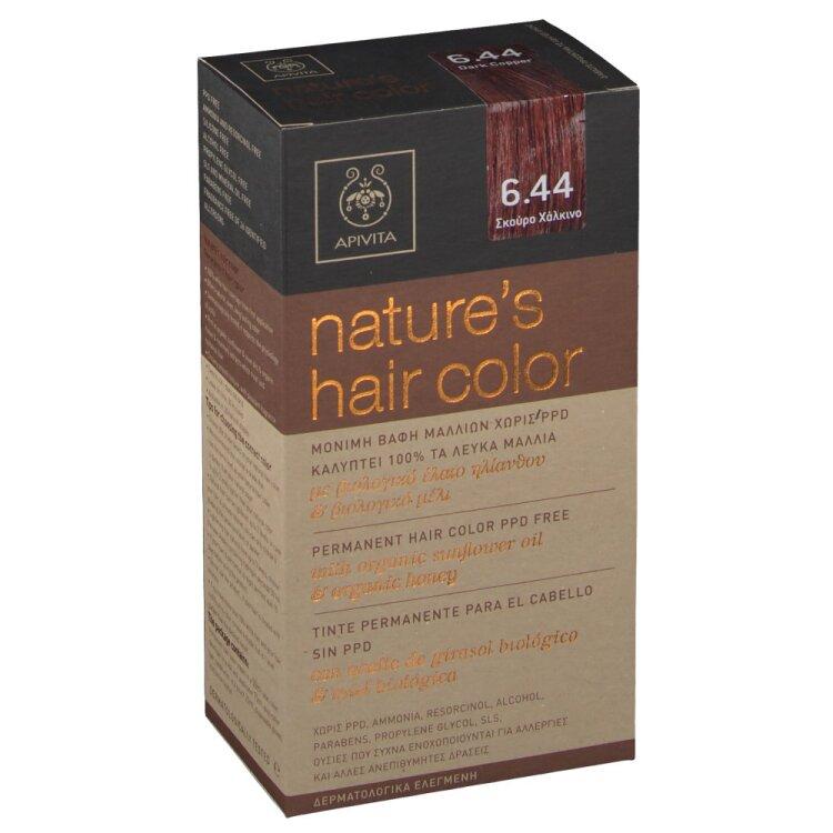 Apivita Nature's Hair Color No6.44 Σκούρο Χάλκινο 50 & 75ml