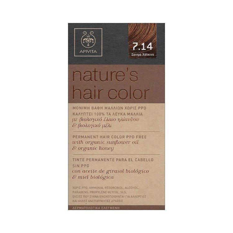 APIVITA Nature's Hair Color Μόνιμη Βαφή Μαλλιών Νο7.14 Σαντρέ Χάλκινο