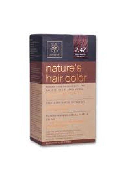 Apivita Nature's Hair Color 7.47 Μπεζ Χάλκινο
