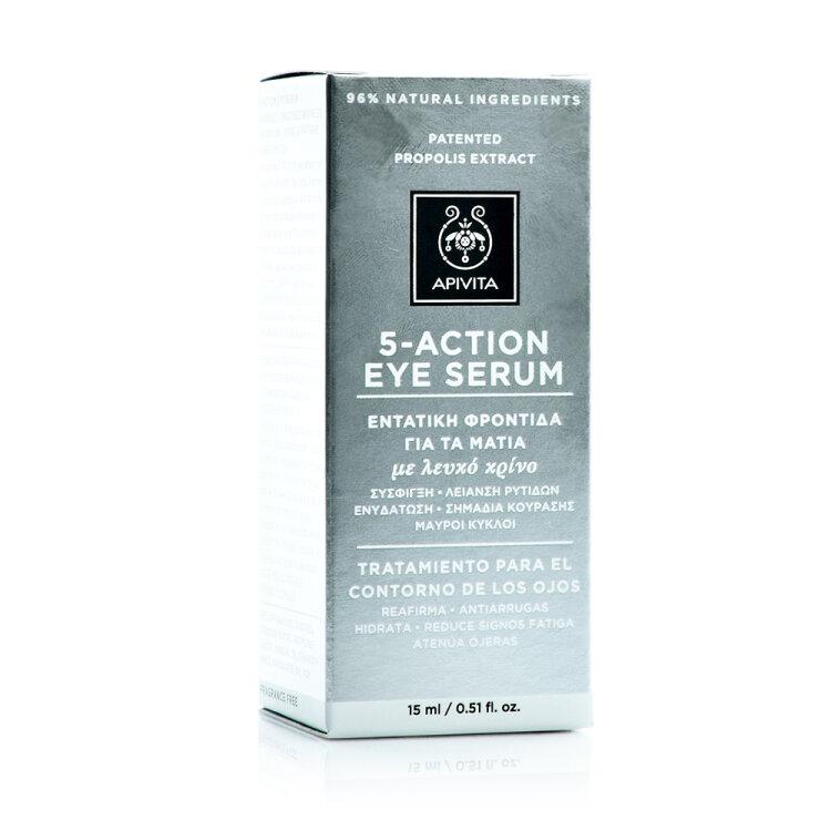Apivita 5 Action Eye Serum Καινοτόμος Ορός Ματιών Εντατικής Ενυδάτωσης & Αντιγήρανσης με Λευκό Κρίνο 15ml