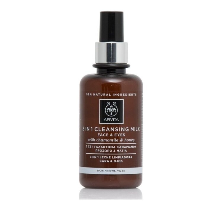 Apivita Cleansing Γαλακτωμα 3 σε 1 για Προσωπο & Ματια με Χαμομήλι και Μέλι 200ml
