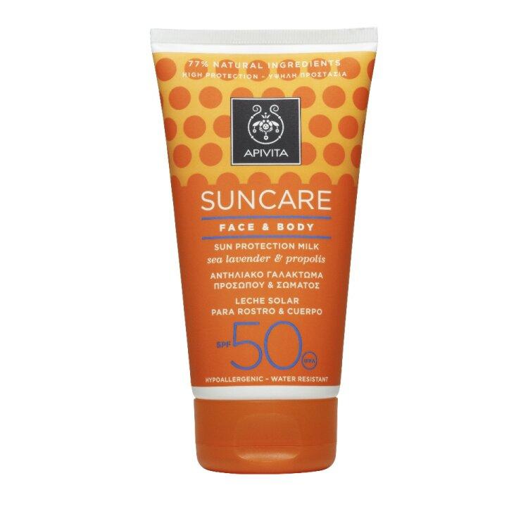 Apivita Suncare Face & Body SPF50 Αντηλιακό Γαλάκτωμα Προσώπου-Σώματος με Θαλάσσια λεβάντα & Πρόπολη 150ml
