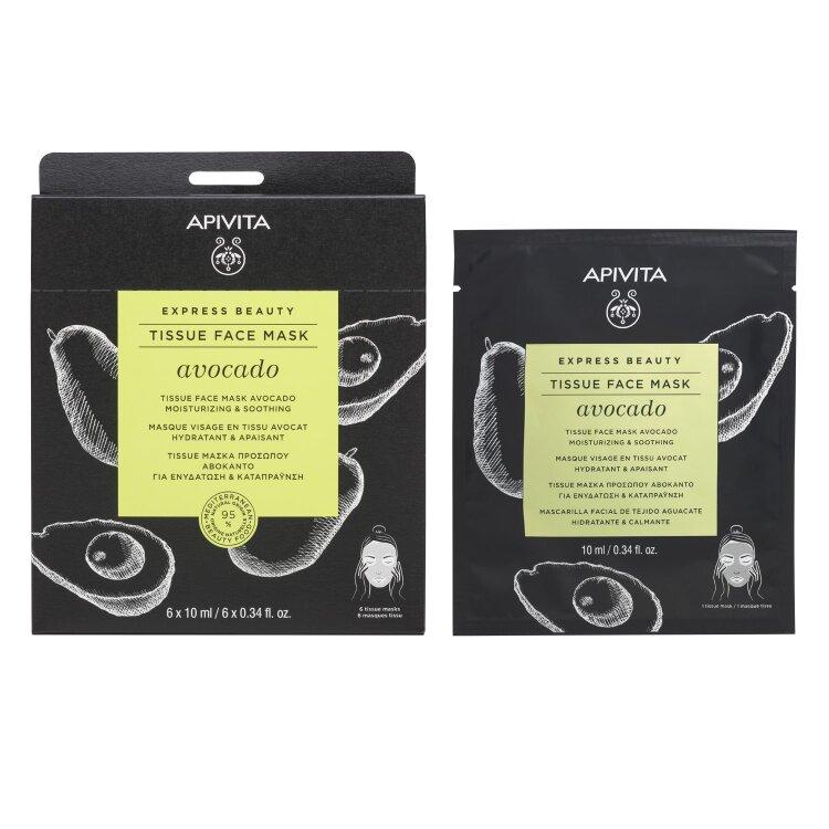 Apivita Tissue Μάσκα Προσώπου Για Ενυδάτωση & Καταπράυνση με αβοκάντο 10ml