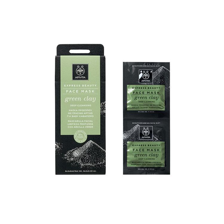 Apivita Express Beauty Face Mask Green Clay Μάσκα Για Βαθύ Καθαρισμό Προσώπου Με Πράσινη Άργιλο 2x8ml