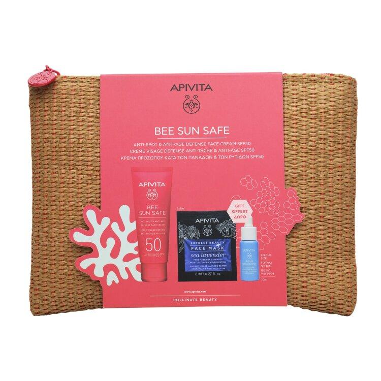 Apivita BEE SUN SAFE Αντηλιακή Κρέμα Προσώπου για Πανάδες-Ρυτίδες, Aqua Beelicious Booster & Sea Levander Mask