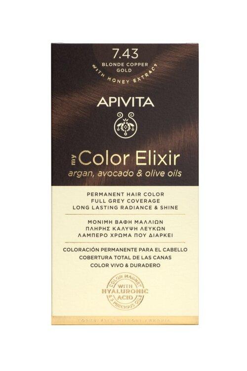 Apivita My Color Elixir Βαφή Μαλλιών 7.43 Ξανθό Xάλκινο Mελί