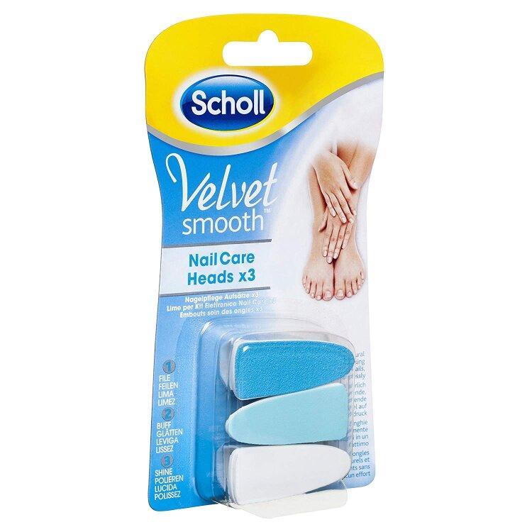 Scholl Velvet Smooth Nail Care Heads Ανταλλακτικές Κεφαλές Ηλεκτρικού Συστήματος Περιποίησης Νυχιών 3τεμ.