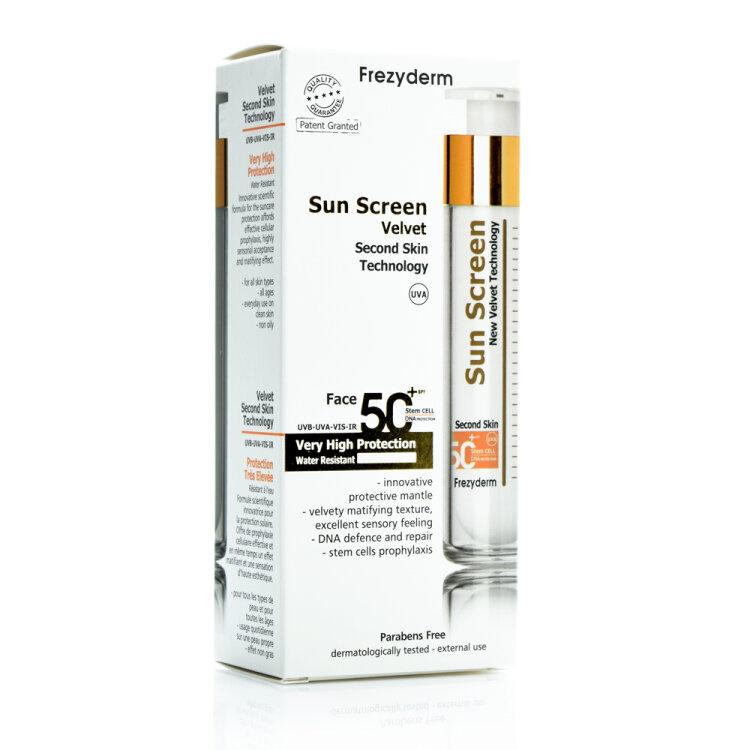 Frezyderm Sun Screen Velvet SPF50 Διάφανη Αντηλιακή για το Πρόσωπο 50ml