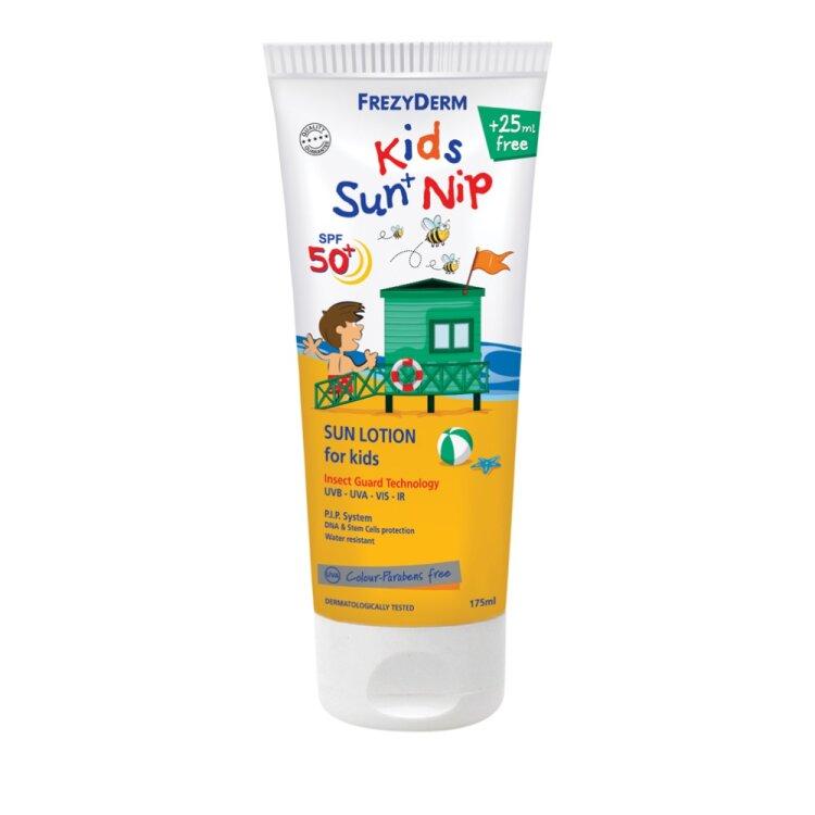 Frezyderm Kids Sun + Nip SPF50+ Παιδικό Αντηλιακό με Εντομοαπωθητικές Ιδιότητες 175ml