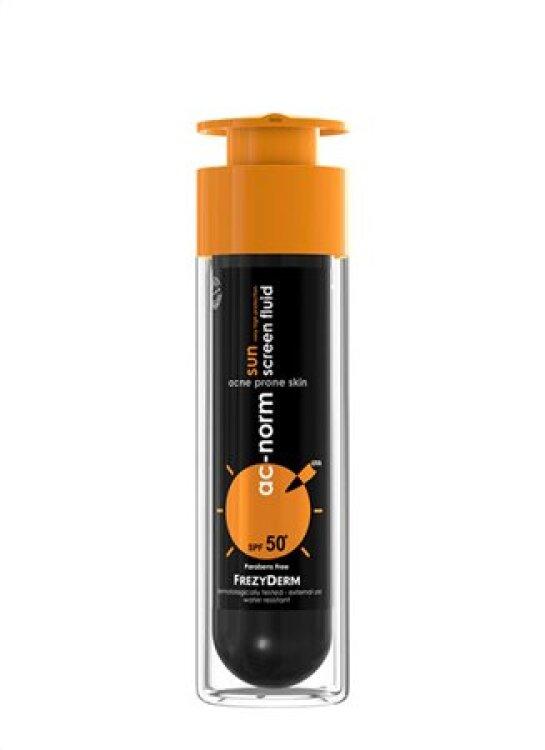 Frezyderm AC-Norm Sun Screen Fluid SPF50+ Αντηλιακό με Ενεργό Άνθρακα για Δέρμα με τάση Ακμής 50ml