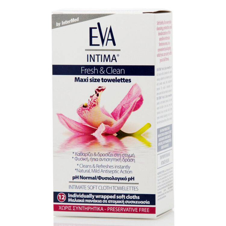 Intermed Eva Intima Fresh & Clean Maxi Size Towelettes Μαλακά Πανάκια για Καθημερινό Καθαρισμό 12τεμάχια