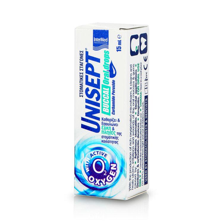 Intermed Unisept Buccal Drops Ισχυρή Καθαριστική & Επουλωτική Δράση 15ml