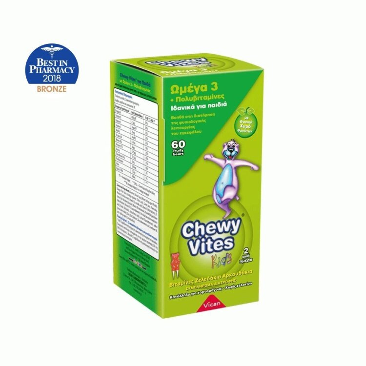 Vican Chewy Vites Jelly Bears-Omega 3 + Multivitamin 60 Μασώμενα Ζελεδάκια (Αρκουδάκια)
