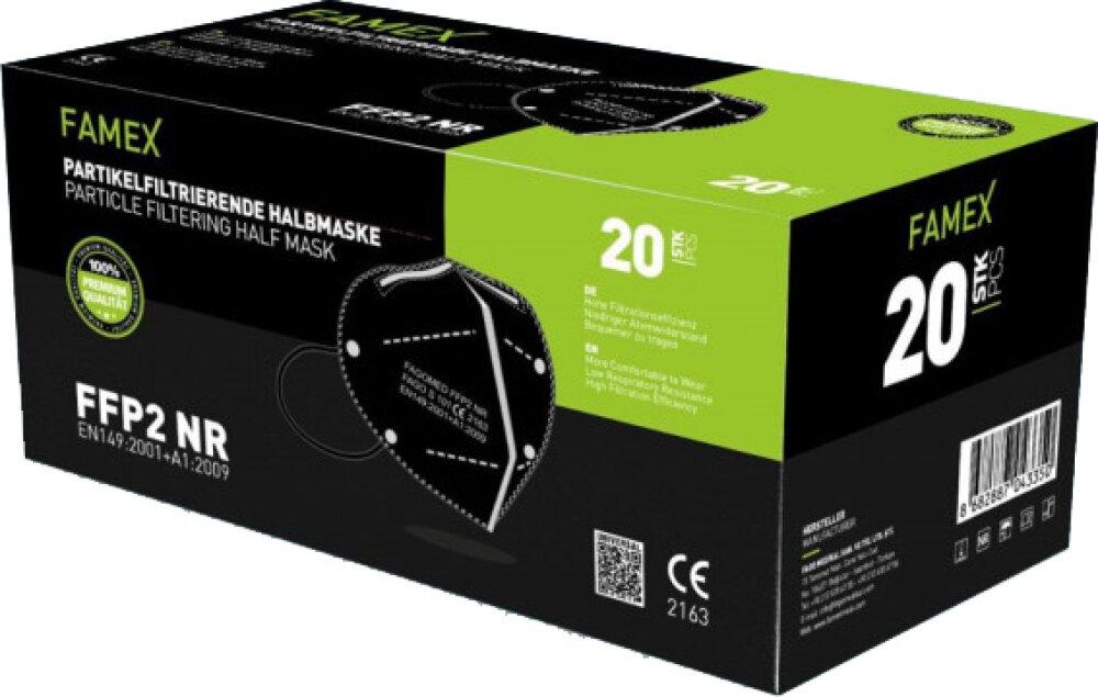 Famex FFP2 NR BLACK 20pcs Particle Filtering Half Mask