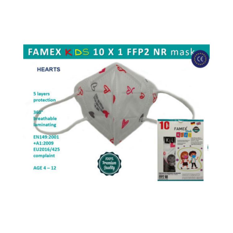 Famex Kids Mask FFP2 NR Girls Pink Hearts 10pcs