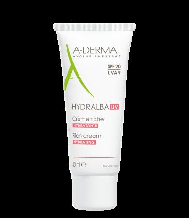A Derma Hydralba Riche Ενυδατική Κρέμα Προσώπου για Ξηρό Δέρμα SPF20 40ml