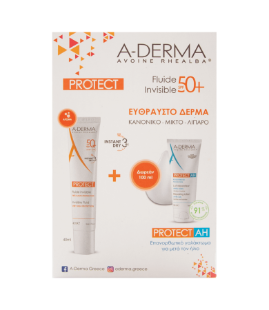 A-derma Set Protect Invisible Fluid SPF50+ 40ml & Δώρο Protect AH Repairing Lotion 100ml