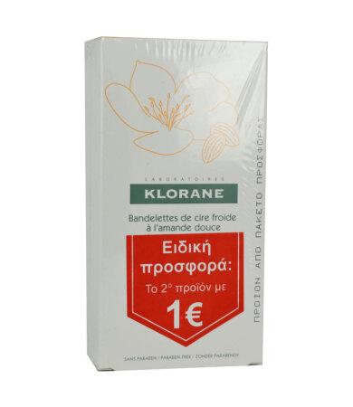Klorane Cold Wax Small Strips with Sweet Almond(Στο 2ο Προϊόν -1_) Διπλές Αποτριχωτικές Ταινίες, 2x6 Ταινίες