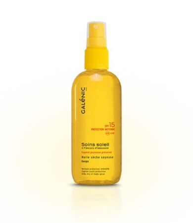 Galenic Soins Soleil Huile Seche Soyeuse Corps Protection Moyenne SPF15 Αντηλιακό Λάδι Σώματος 150ml