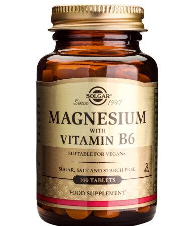 Solgar Magnesium με Vitamin B6, 100 ταμπλέτες