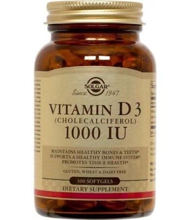 Solgar Vitamin D3 1000iu, Βιταμίνη D3 100 μαλακές κάψουλες