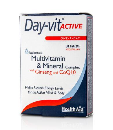 Health Aid Day-vit Active, Multivitamin & Mineral & Co Q10-Ginseng, για Σωματική & Πνευματική Τόνωση 30δισκία