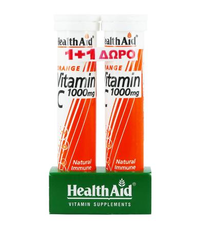 Health Aid Vitamin C 1000mg Αναβρ. με Γεύση Πορτοκάλι 20tabs 1+1 Δώρο