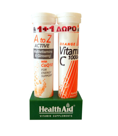 Health Aid A To Z Active Multivitamins & Ginseg with CoQ10 20ταμπλέτες & ΔΩΡΟ Vitamin C 1000mg 20ταμπλέτες