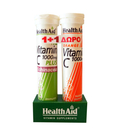 Health Aid Αναβρ. Vitamin C 1000mg 20s γεύση Πορτοκάλι & Echinacea Vitamin C 1000mg 20s