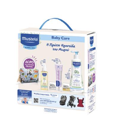 Mustela Set Baby Care Απαλό Αφροντούς για Σώμα & Μαλλιά, Κρέμα αλλαγής πάνας & Λάδι για Μασάζ + ΔΩΡΟ ΝΕΣΕΣΕΡ