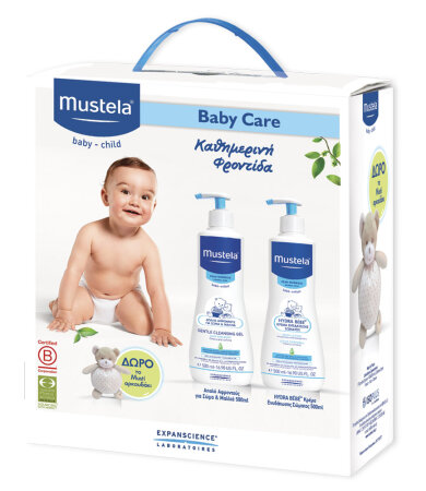 Mustela Baby Care Set Gentle Cleansing Gel 500ml, Hydra-Bebe Body Lotion Σώματος 500ml & ΔΩΡΟ ΑΡΚΟΥΔΑΚΙ