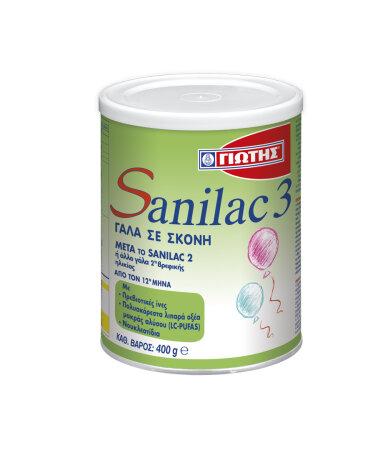 Sanilac 3 Γάλα Σε Σκόνη Τρίτης Βρεφικής Ηλικίας 400gr