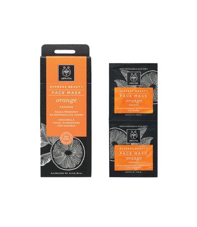 Apivita Express Beauty Μάσκα Προσώπου με Πορτοκάλι για Λάμψη 2x8ml