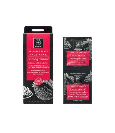 Apivita Express Beauty Μάσκα Προσώπου με Ρόδι για Λάμψη & Αναζωογόνηση 2x8ml