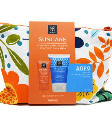 Apivita Promo Suncare Anti-Wrinkle Face Cream SPF50 Olive & 3D Pro-Algae 50ml & ΔΩΡΟ After Sun Fig/Aloe 100ml