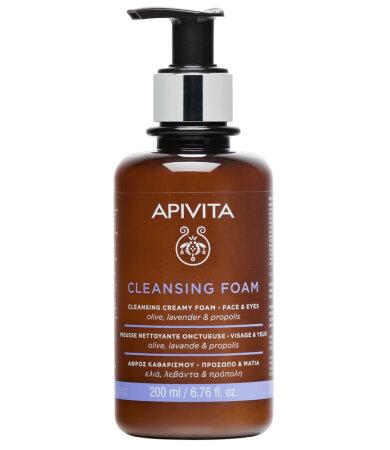 Apivita Cleansing Foam Face & Eyes Κρεμώδης Αφρός Καθαρισμού για Πρόσωπο & Μάτια με Ελιά & Λεβάντα 200ml