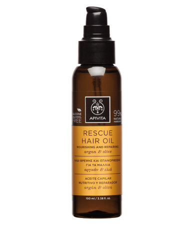 Apivita Rescue Hair Oil Nourishing and Repairing, Λάδι Θρέψης & Επανόρθωσης για τα Μαλλιά 100ml