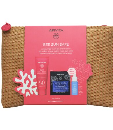 Apivita ΒΕΕ SUN SAFE Ενυδατική Κρέμα Gel με SPF50, Aqua Beelicious Booster & Sea Levander Express Mask