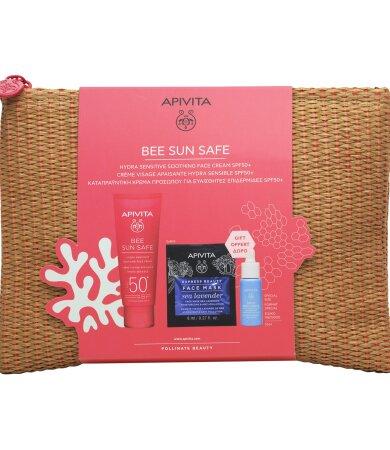 Apivita BEE SUN SAFE Καταπραϋντική Κρέμα Προσώπου SPF50, Mini Aqua Beelicious Booster & Sea Levander Mask