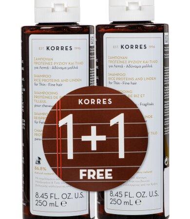 Korres Σαμπουάν με Πρωτείνες Ρυζιού & Τίλιο για Λεπτά και Αδύναμα Μαλλιά 250ml 1+1 ΔΩΡΟ