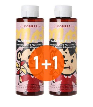 Korres Wash me Berries για Κορίτσια Παιδικό Σαμπουάν & Αφρόλουτρο 2 in 1 250ml 1+1