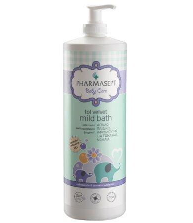 Pharmasept Tol Velvet Baby Mild Bath Παιδικό αφρόλουτρο για σώμα & μαλλιά χωρίς αλκάλια ή σαπούνι 1lt