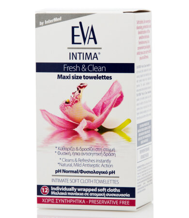 Intermed Eva Intima Fresh & Clean Maxi Size Towelettes Μαλακά Πανάκια για Καθημερινό Καθαρισμό 12τεμάχια