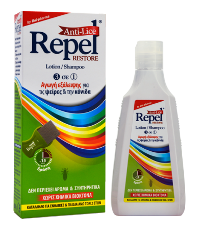 Uni-Pharma Anti-Lice Restore Αντιφθειρική Αγωγή Σαμπουάν - Λοσιόν 200ml